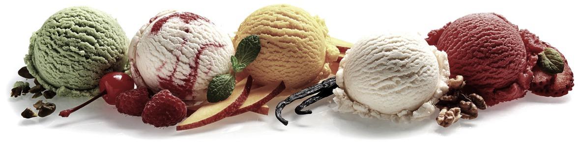 Fünf Eissorten